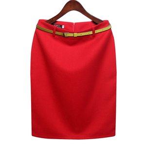 Cwlsp S-3xl Plus Size Autunno Autunno Gonna tubino di lana Donna Formale Ol Abbigliamento da lavoro Gonna a vita alta lunghezza media con cintura Y19060301