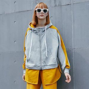 Women's Jackets 2021 Winter Contrast Color Stitching Plus Velvet Warm Loose Hooded Zipper Sweater Coat
