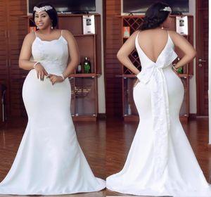 Cheap Arabic Plus Size Wedding Dresses Spaghetti Straps Backless Floor Length Satin Bridal Gowns Applique Bow Appliques ogstuff