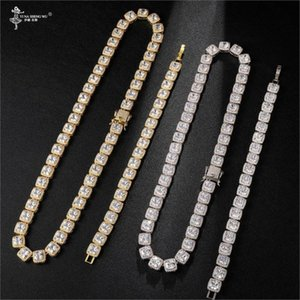 Hip Hop 10MM Bling Cubic Zirconia Iced Out Bracelet Necklace 1set Geometric Square CZ Stone Tennis Chain For Men Jewelry New