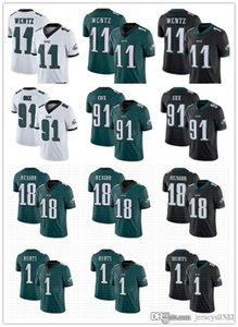 Men Women PhiladelphiaEaglesYouth 11 Carson Wentz 18 Jalen Reagor 1 Jalen Hurts 91 Fletcher Cox Football Jerseys white green Black