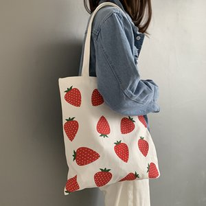 Fashion Canvas Women Shopping Handbags Strawberry Girls Student Shoulder Bags Large Capacity Eco Reusable Ladies Casual Tote