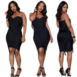 женщины dress новый без бретелек твердые wrap груди кисточкой шить dress Sexy club party женские платья bodycon черный xl 811
