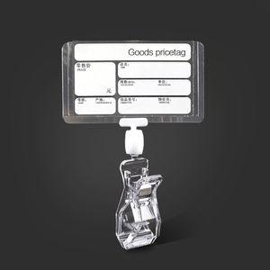 Plástico transparente Productos de supermercado Precio y nombre Tablero de la etiqueta Precio Etiqueta del papel de la muestra Titular de la tarjeta con doble clip de pop lateral