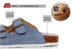 Mucca Camoscio Mule Zoccoli Pantofole molle di alta qualità del sughero uomini di estate due fibbia Slides calzature per uomo donne unisex 35-46