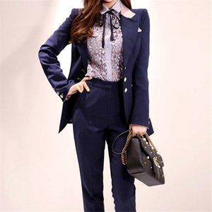 HziriP 2020 Chic Elegance Талия Контролируемые Женщины Color-Hit Casual Пиджаки + Hot Straight Твердые Брюки Костюмы Set 2 шт наборы