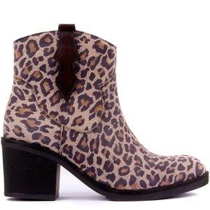 Sail-Lakers Mink Leopard Print Leather Women Boots