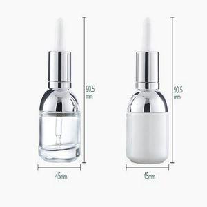 30мл Стеклянная бутылка Сыворотка Pearl White Прозрачный Cosmetic Эфирное масло Упаковка флакон-капельница с пластиковой заглушкой