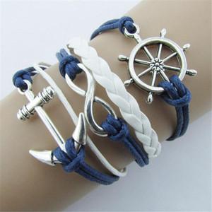 Wholesale-New Silber Unendliche Armbänder Schmuck Nautical Rudder Anchor Blue Leder Seil Armreif A1