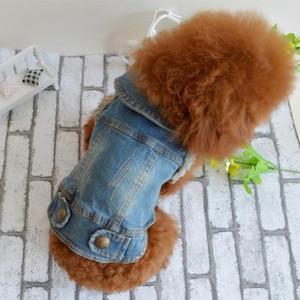 Çevre Dostu Yaz Yavru Köpek Yelek Denim Ceket Kostüm Üst Moda Kot Giyim Küçük Büyük Köpekler İçin-Mavi-Xs-Xxl