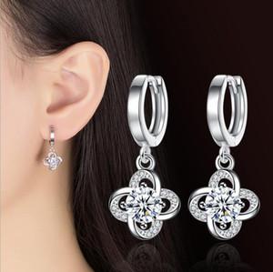 Designer Women Stud Earrings Swarovski Zirconia Elements Jewelry High Quality Austrian Crystal Stud Earrings Silver Four Clover Leaf Jewelry