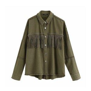 2020 Fall New Vintage Loose Jacket Tassel Rivet Burr Denim Coat Women Wind Retro Cocoon Coat