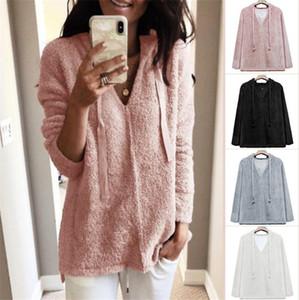 Mulher designer camisola Outono-Inverno pulôver com capuz manga comprida Mulher camisolas casual Plus Size Ladies Sólidos Hoodies Cor