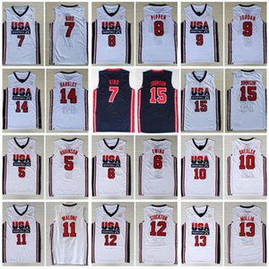 1992 Dream-Team One Robinson Patrick Ewing Larry Bird Scottie Pippen Clyde Drexler Karl Malone Stockton Chris Mullin Charles Barkley Jersey