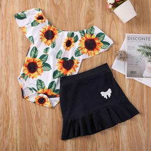 2PCS طفل الاطفال الرضع بنات ملابس عباد الشمس مطبوعة بلايز رومبير تي شيرت البسيطة تنورة تتسابق 2PCS زي الملابس