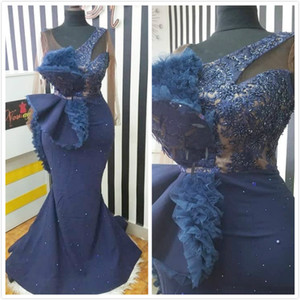 2019 Aso Ebi Árabe Azul marino Vestidos de noche baratos Vestidos de fiesta de sirena con cuentas de encaje Fiesta formal sexy Vestidos de segunda recepción Vestidos