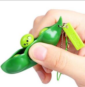 Engraçado Squeeze Toys Feliz Colorido Extrusion Bean Novidade Item Soybean Edamame Stress Aliviar Brinquedos Chaveiro Chaveiro Brinquedos Da Mordaça