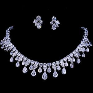 Emmaya zircons de haute qualité en or blanc Couleur Zircon de mariée mariage collier et boucles d'oreilles Party Coffrets cadeaux