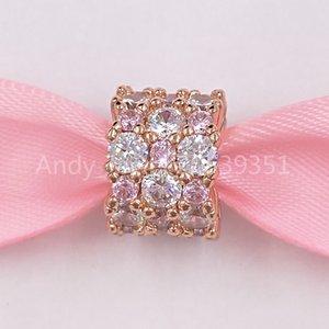 """""""Authentische 925 Sterling Silber Perlen Pandora Rose Pink Klar Sparkle Charm Charms Passt Europäische Pandora Style Schmuck Armbänder Halskette"""