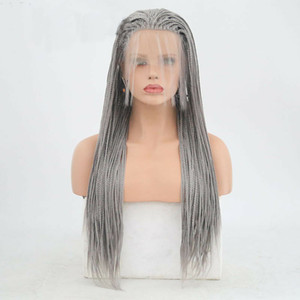 Gray Box Braided Wig Cosplay Free Part Synthetic Lace Front Wig Straight Hand Tied Heat Resistant Fiber Hair Wig Party for Women