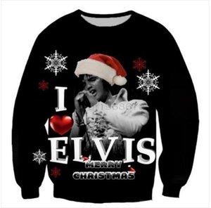 Toptan-Yeni Moda Kadın / Erkek Elvis Presley Merry Christmas Komik 3D Casual Kazak Tops Artı boyutu AR015 yazdır