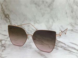 0323 / S وردة نوع ذهب / براون المظللة عين القط نظارات شمسية نسائية نظارات شمسية نظارات شمسية جديدة مع صندوق
