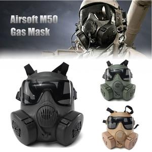Хэллоуин DC-15 M50 анфас Череп CS Gas Tactical War Game косплей Party Mask песочный / зеленый / черный Y200103