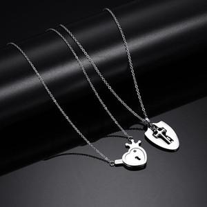 Kolyeler Takı Şık Moda Sınıf Kalite Titanyum Çelik Kolyeler Paslanmaz Çelik Kalp Anahtar Çift Salkım