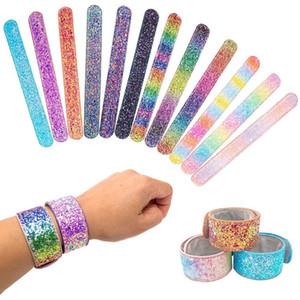Partido de la manera pulsera de Shining niñas sirena de las lentejuelas pulsera Slap Snap Niños para niños y niñas joyería HHA523