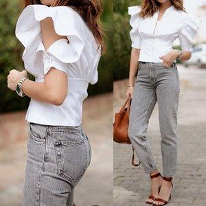 Celmia Plus Size Verão Tops mulheres elegantes Ruffles Blusas camisas à moda Túnica V-neck Casual Sólidos Office Party Ladies Blusas