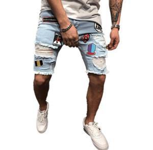 Jeans pour hommes autocollant bleu solide Denim Pants Mens Slim Fashion High Street Designer Jeans Mâle Longueur Genou Jeans