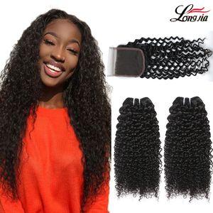 4x4 레이스 클로저와 브라질 곱슬 곱슬 머리 묶음 브라질 버진 인간 헤어 번들과 클로저 처리되지 않은 곱슬 머리 익스텐션