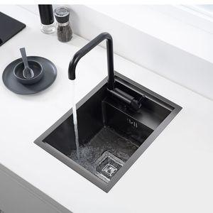 Скрытая черная кухонная раковина одиночная чаша бар небольшой размер нержавеющая сталь балкон раковина скрытая черная кухонная раковина бар