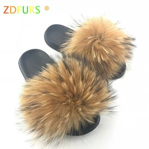 ZDFURS * 2019 neueste Frauen wirkliche Waschbär-Pelz-Slippers Causal Sommer Slides Haarpelz Flip Flops Schuhe Skandale Indoor Outdoor