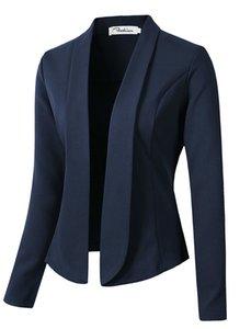 Moda Abrigos y chaquetas de otoño para las mujeres para trabajar en zapatos de mujer Traje delgado Sin botón Negocio femenino