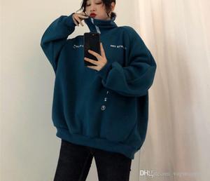 الياقة المدورة فضفاضة المتضخم مضحك إلكتروني طباعة الشارع الشهير تراكسويت البلوز النساء الرجال هوديس الكورية kpop الملابس البلوز الأعلى