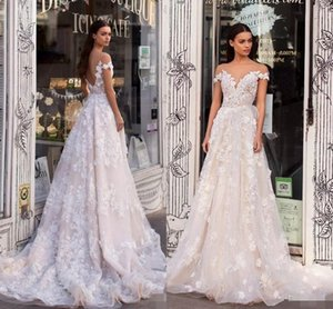 2019 Berta A Line Wedding Dresses Sheer Off The Shoulder Lace Appliqued Bridal Gowns Backless Custom Made robe de mariée