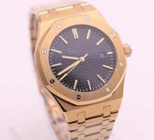 2019 Aço Mens Watch Rosa de Ouro inoxidável Sapphire vidro 42mm Transparente Capa traseira Automática Relógios Mecânicos