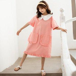 YourSeason девочек-подростков лето карманные платье 2020 Кукла воротник Корейский стиль детей хлопка вскользь милые платья