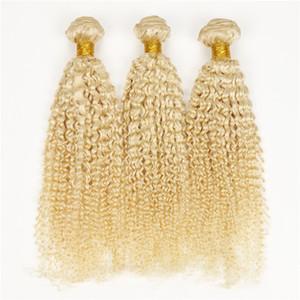 100 % 인간의 머리 확장 더블 씨실 레미 금발 직조 # 613 혼합 길이 변태 곱슬 이리나 머리 100 그램 / pc 3 개 / 몫 DHL