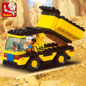 Heavy construction truck dump truck children puzzle splicing building block toy assembly model excavator