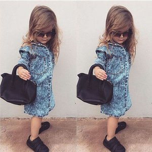 Yeni Bebek Kız Bebek Çocuk 3/4 Sleeve Dress Tek Breasted Poket Günlük Elbiseler Denim Kıyafet Çocuk Kız takım Tops