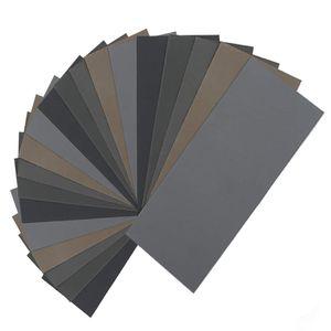 NEW-20Pcs seco mojado de papel de lija, de alta Grit 1000/2000/3000/5000/7000 Hojas de papel de lija Surtido Para Madera Metal Pulido Automotrices