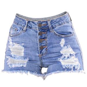 CHAMSGEND Sexy Shorts Mulheres Verão Denim Shorts Jeans Senhoras Cintura Alta Skinny Curto Mujer Spodenki Damskie Elegante Casual L0519