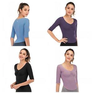 LU Колено рукав Беговая пуловер Tops V Ворот Стили Pure Color Fitness Wear T Shirt Женской мода Рубашка Одежда 60lye E19