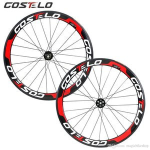Costelo Thru Axle 6 Bolt Disc brake carbon road bike wheels 700C 50mm Clincher Carbon Wheelset Tubuar 25mm U shape cyclocross