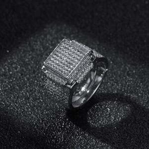 Hip Hop Hommes Bijoux Bagues diamant Iced BLING Anneaux de haute qualité de mode en or Bague en Argent