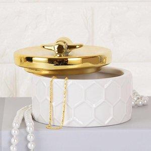 Nordic Ceramic Jewelry Box Golden Storage Tank Storage Box Bee European Simple Princess Decorative Bottle Home Ornaments Candy Jar