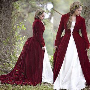 Nouveau d'hiver de Noël robe de bal de mariage Robes Capes Bourgogne velours manches longues fleurs Taille Plus formelles Robes de mariée avec manteau de veste