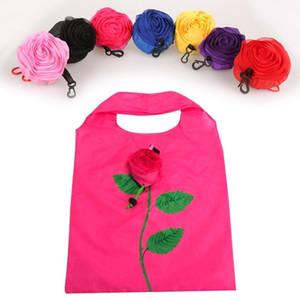 Hot Eco Storage Handtasche Rose Blumen Form Faltbare Einkaufstaschen Wiederverwendbare Falten Lebensmittelgeschäft Nylon Große Tasche DLH091
